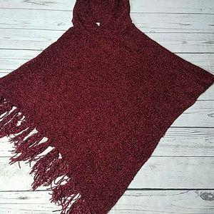 Chenille fringe cozy fuzzy sweater poncho
